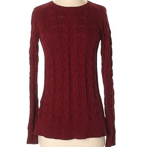 Ann Taylor Loft cranberry red cable sweater